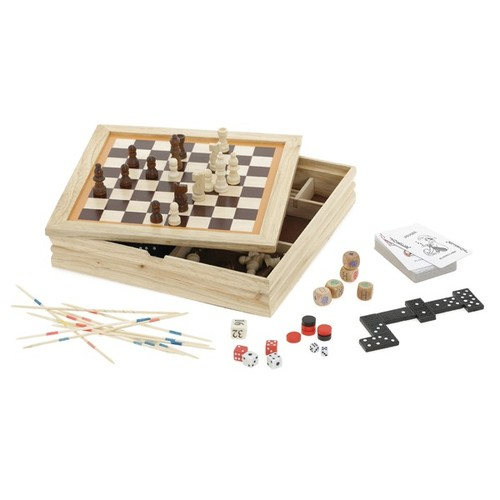 7-in-1 game compendium in wooden box with velvet lined base. regalos promocionales