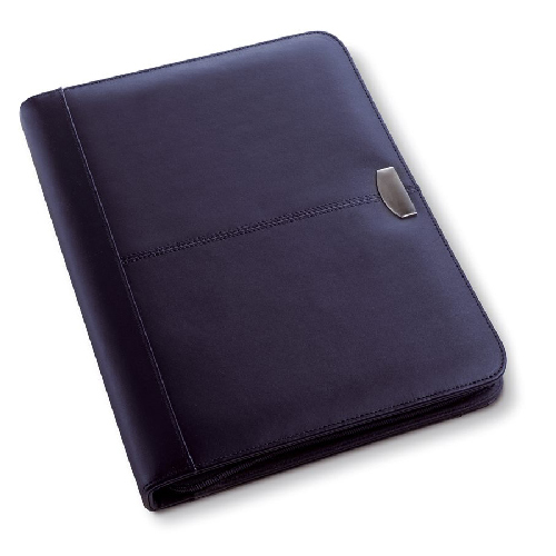 A4 Leather zipped conference folder. regalos promocionales