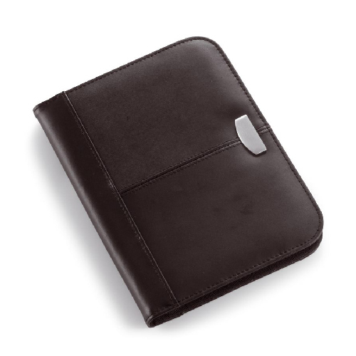 A5 Leather zipped conference folder. regalos promocionales