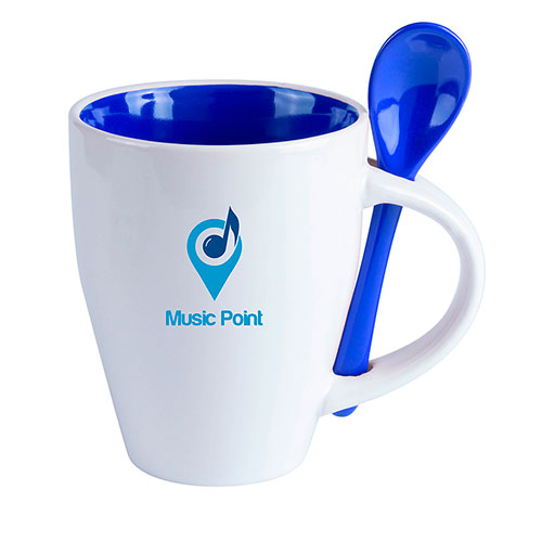 Mug Cotes with spoon. regalos promocionales