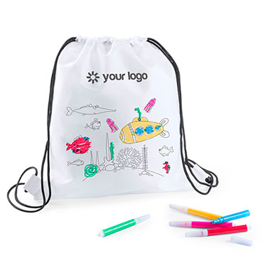 Backys Drawstring Bag. Non-Woven. 5 Markers Included