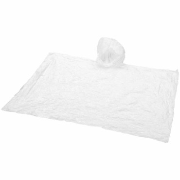 Disposable rain poncho with pouch