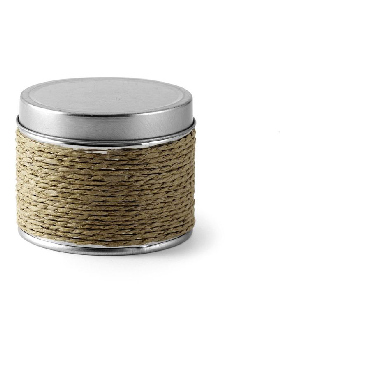 Candle in a cord covered tin