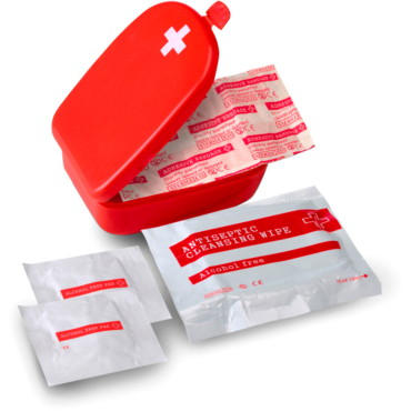 Handy size first aid kit in a plastic...