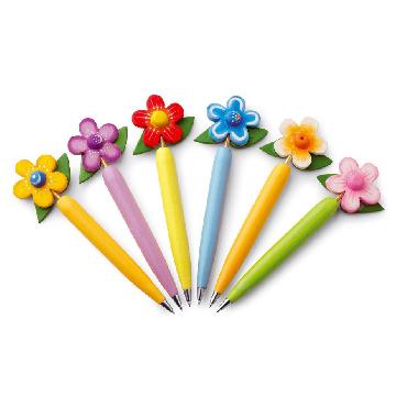 Bolígrafos en forma de florecita. 6 d...