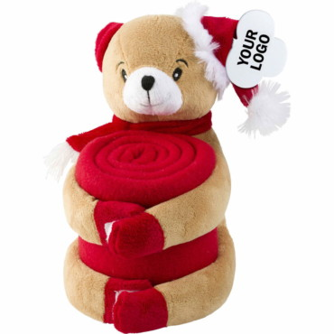 Soft toy Reindeer holding a fleece blanket