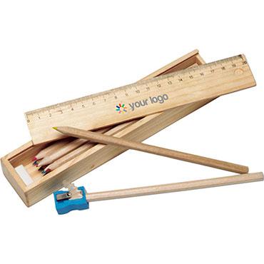 Estuche de madera con 12 lápices de c...