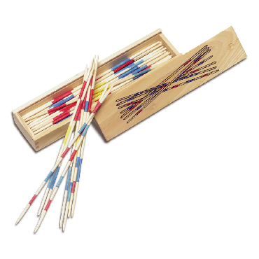 Mikado game in a wooden box