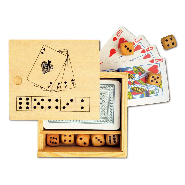 Games set in a  wooden box