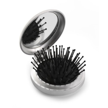 Plastic pocket mirror and brush