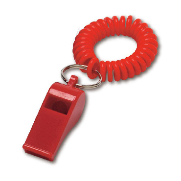 Plastic whistle with a spiral wrist cord