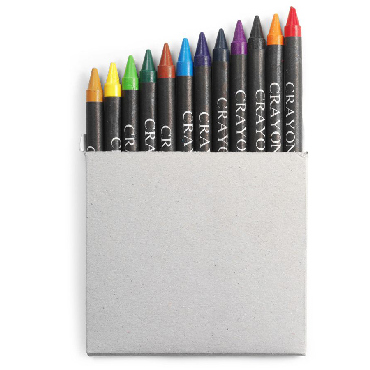 Twelve small crayons