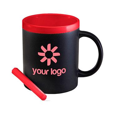 Ceramic mug (300ml) with a black pane...