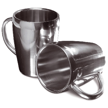 Set of two stainless steel mugs