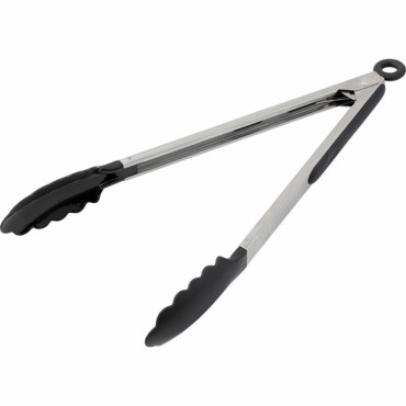Food tongs with a rubber gripped handle.