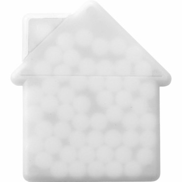 House shaped mint card.