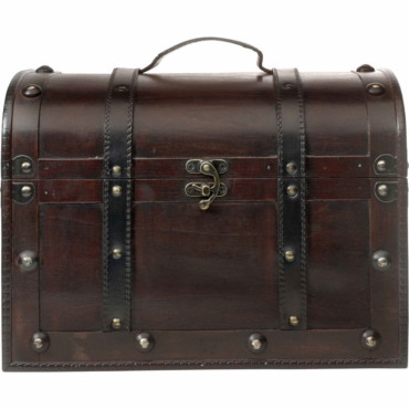 Medium sized wooden chest.