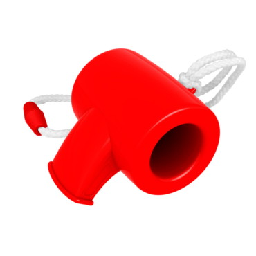 Whistle shaped mini plastic horn on a...