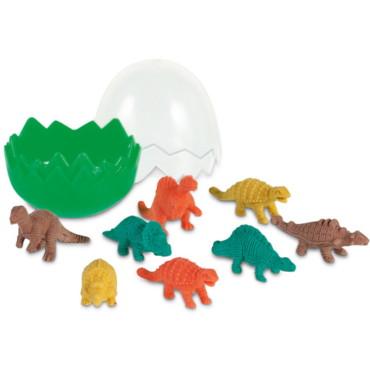 Sortido de 8 borrachas dinossauro em caixa com forma de ovo