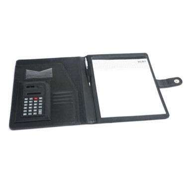 Imitation leather A4 folder with 8-digit dual power calculator