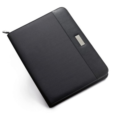 Imitation leather and microfiber zipped A4 folder with several inner pockets