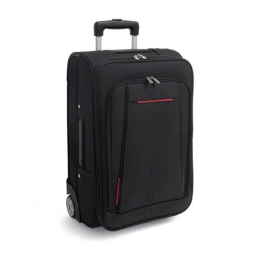600D travel trolley bag with rigid box and EVA semirigid front