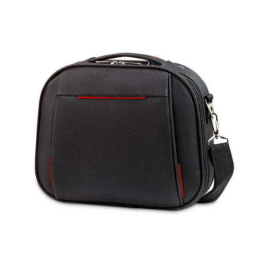Cosmetic bag with semirigid front
