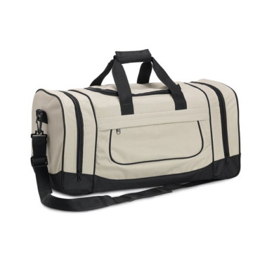 600D travel bag with front compartment, 2 side pockets and semirigid base