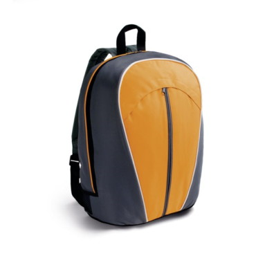 600D backpack with vertical outer front pocket, mesh side pockets and inner pocket
