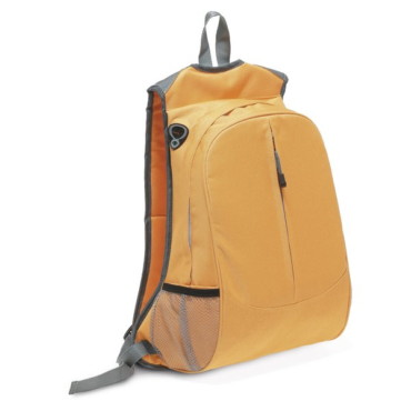 600D backpack with side opening for headphones, outer vertical front pocket, mesh side pockets and inner pocket