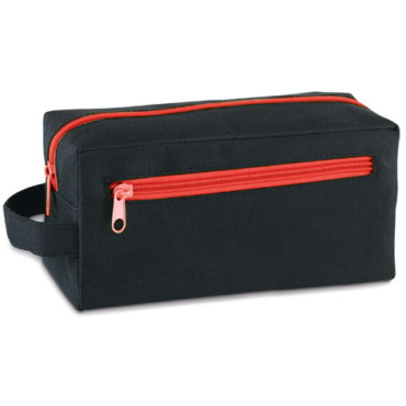 600D cosmetic bag with front pocket and handle