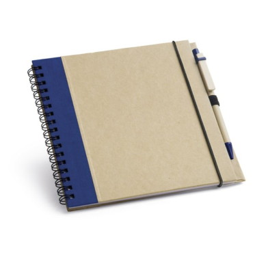 Notepad with recycled cardboard hardcover and with elastic band and black ink ball pen