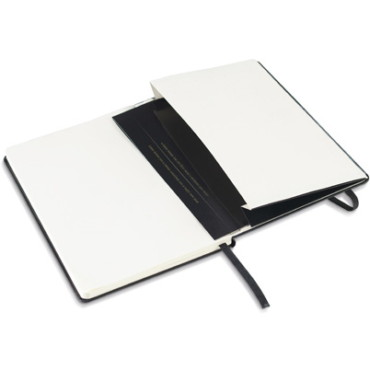 A5 notepad with hardcover, inner pocket and elastic closure