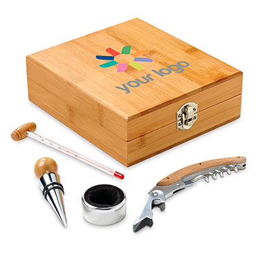 4-piece metal and bamboo gourmet wine set in bamboo box