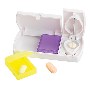 Pill box with cutter and 2 removable inner separators