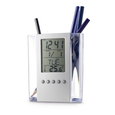 Acrylic pen holder and digital desk set with calendar, alarm clock and thermometer