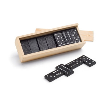 Dominoes set in wooden box