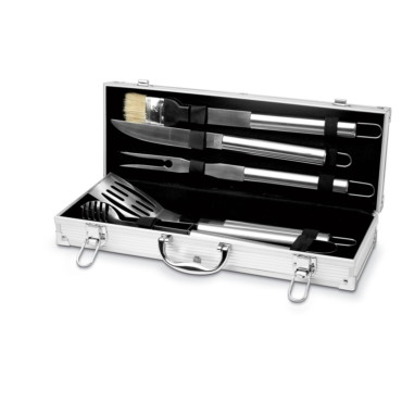 Asador 5 BBQ tools in aluminium case