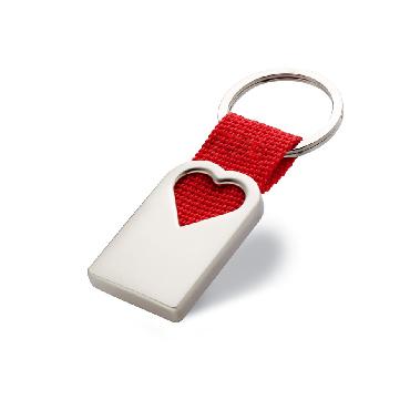 Porte clef coeur en métal Bonheur