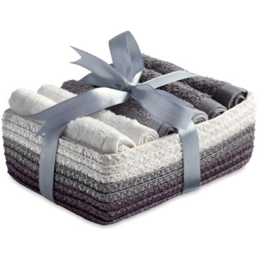 Coffret 6 hand towels in basket