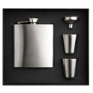 Annaska Slim hip flask w 2 cups set