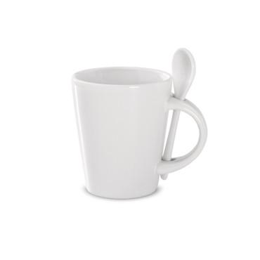 Taza con cuchara de cerámica. Sublimkonik