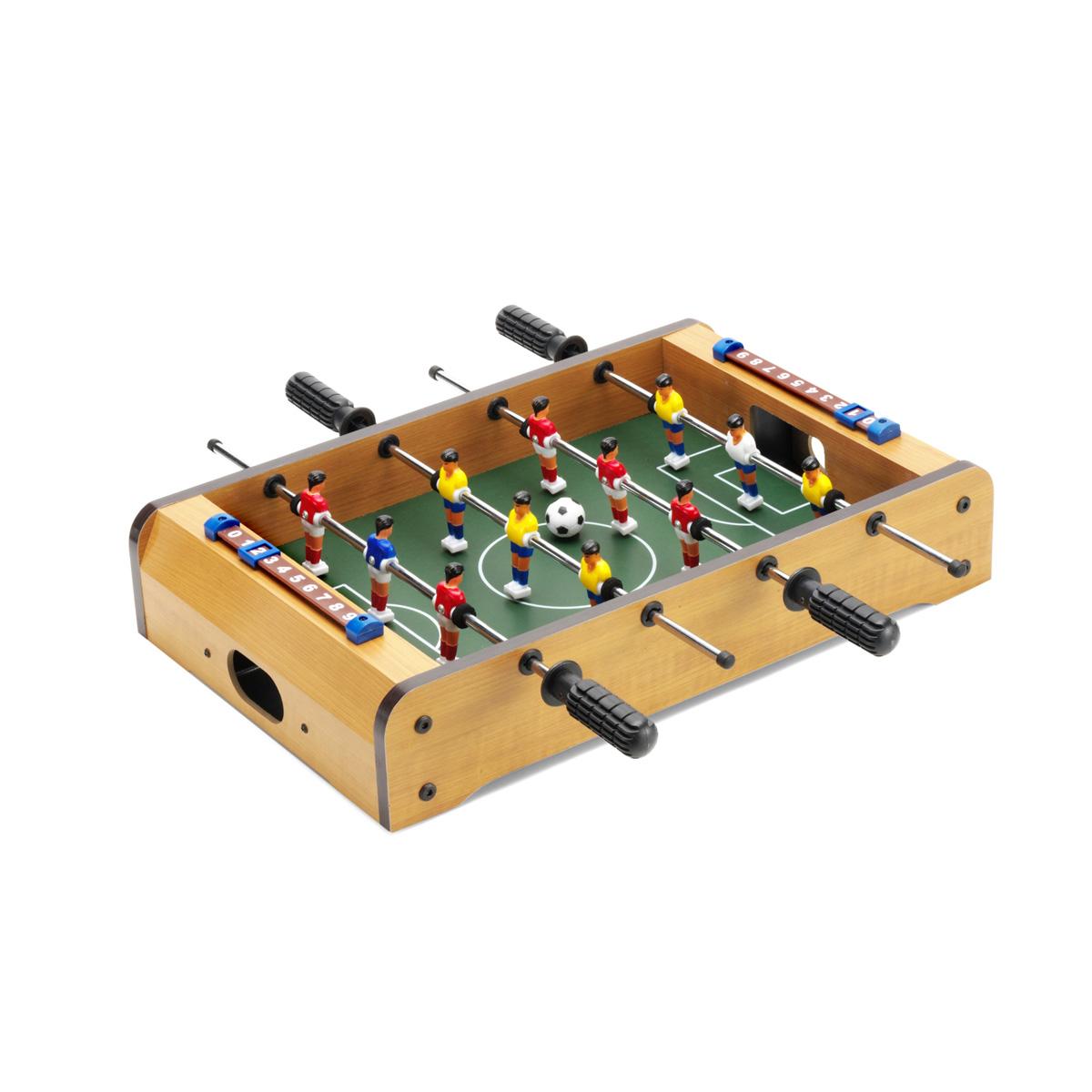 Mini futbol n de madera con 2 pelotas www for Futbolin madera bar