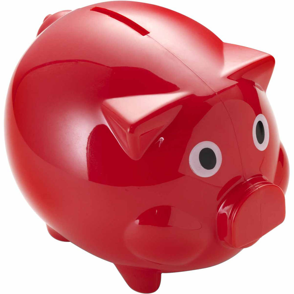 Red Glossy Abs Plastic Piggy Bank