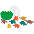 8-dinosaur rubbers in an egg shaped box