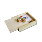 Playing cards and dice set in wooden box